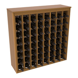 Wine Racks America - 64 Bottle Deluxe Wine Rack in Premium Redwood, Oak Stain + Satin Finish - Styled to appear as wine rack furniture, this wooden wine rack will match existing decor while storing 64 bottles of wine. Designed to look like a freestanding wine cabinet, the solid top and sides promote the cool and dark storage area necessary for aging wine properly. Your satisfaction and our racks are guaranteed.