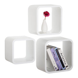 WELLAND - WELLAND Sunset Wall Cubes Set of 3, White Inside - These rounded corner wall shelf cubes add a new and refreshing element to your room and can be easily combined with other pieces to create a customized wall space. Set Includes 3 cubes.
