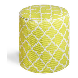 Fab Habitat - Tangier - Celery & White Pouf - Moroccan-inspired shapes never looked so chic than as the posh pattern for this modern pouf. Handmade from recycled materials by skilled artisans, this stylish pouf comes in a variety of  vivid colors and will work equally well as an ottoman in your living room, or a stool in your vanity area.