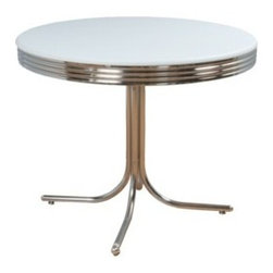 Retro Dining Table, White/Chrome - This table is distinctly retro. No diner or malt shop would be complete without one.