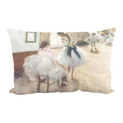 Poetic Pillow - Edgar Degas The Dance Lesson Pillow - Transform any space with a pillow from Poetic Pillow. Each pillow is inspired by fine works of art and printed on the front and back.   Covers are made of pre-shrunk satin-like polyester fabric. All seams are finished to prevent fraying and pillow covers have a knife edge finish.. A concealed zipper allows for ease of inputting pillow inserts.  A duck feather insert is included for soft yet supportive feel.  Cushion inserts are encased in a cotton cover and filled with 100% duck feather.  All research, design and packaging is completed in Oakland, California.