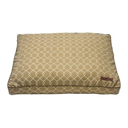 "Jax and Bones - Rectangle Indoor / Outdoor Pillow Dog Bed in Soleil - Features: -Dog bed. -Exclusive polyester fabrics. -Versatile, durable and long-lasting. -Outdoor-safe UV-resistant fabric. -Patented water-resistant design. -Sustainafill allergy-free eco-friendly fiber filling. -Removable and machine washable cover. -Can be placed indoors or outdoors during the summer months. -Proudly made in the USA. -Soleil fabric. -Available in two sizes:. -Medium dimensions: 10"" H x 28"" W x 36"" D. -Large dimensions: 10"" H x 36"" W x 42"" D."