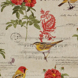 Paris French music fabric bird document script rose paisley - A French document script fabric. This seems to have it all! There are song lyrics, birds, red roses, paisleys, and more!