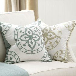 Ballard Designs - Sabina Embroidered Pillow - Cover Only - Matching cotton canvas back. Plush feather down insert sold separately. Hidden zipper. Geometric patterns have become a go-to accessory among top designers and our Sabina Pillow Cover is a quick, easy way to bring the look home. The quatrefoil medallion motif is chain-stitched over cotton for great color and texture. Sabina Embroidered Pillow Cover features: . . .
