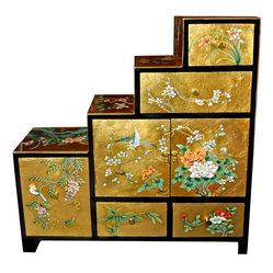 Oriental Furniture - Gold Leaf Step Tansu - An extraordinary accent ...