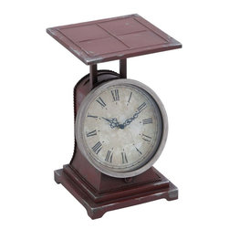 Benzara - Metal Scale Decor Clock in Classical Style and Charm - Fantastically designed like a beautiful metal scale, this clock will bring classical charm to your home setting. Place it anywhere in your home, it will bring elegance to your interiors. The clock is made of high quality metal and ensures accurate time every day. This brown colored clock comes with dials and roman numbers in a black hue. This metal desk clock symbolizes the classical style which will lend your home an elegant appeal. The clock is unique in its own way and therefore you can place it in different rooms or gift it to your relatives and friends on special occasion. Crafted from sturdy material, this elegant clock will surely serve you for years to come.