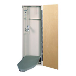 None - HANDI-PRESS Electric Ironing Center - This convenient HANDI-PRESS Electric Ironing Center features a white cabinet and ironing board with an unfinished birch door. This center has a 42-inch ironing board,electrical outlet,hot iron storage and a lighted on/off rocker switch.