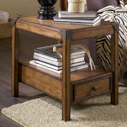 """Hammary - Studio Home Chairside Table in Oak Finish - If you enjoy unique style with an urban edge, the mission-style Studio Home living collection is just your type. Each piece is finished in a warm, weathered oak for a natural, soothing brown color palette with matching metal accents giving a trendy, industrial style. Featuring a full set of occasional tables, bookcase pieces, and a large architect desk, this collection not only brings you style, but convenient storage and display room for your living room, home office, and bedroom. Whether you are decorating your loft, apartment, or home, the Studio Home living collection can be interpreted anyway you want to effortlessly enhance the unique beauty of your interior space.; Studio Home Collection; Finish: Oak; 1 Drawer; 1 Fixed Shelf: W23 H19; Weight: 44 lbs.; Some assembly required; Dimensions: 18""""W x 24""""D x 22""""H"""