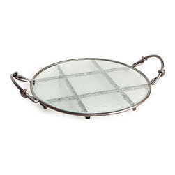 Danya B - Round Tray with Textured Glass Disk on Iron Stand with Handles - This gorgeous Round Tray with Textured Glass Disk on Iron Stand with Handles has the finest details and highest quality you will find anywhere! Round Tray with Textured Glass Disk on Iron Stand with Handles is truly remarkable.