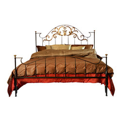 """Caporali - Stavio Bed by Caporali - Tuscany, Italy, Full Size - 54"""" X 75"""" - Hand forged in the Caporali workshop (Santa Mama, Tuscany, Italy), the Stavio Bed is one of the artisans most recent classic projects which again demonstrates the creative design and workmanship of these Tuscan artisans. Since 1885, the Caporali family has been forging iron in Tuscany using the same mortise and tenon methods passed down through four generations."""