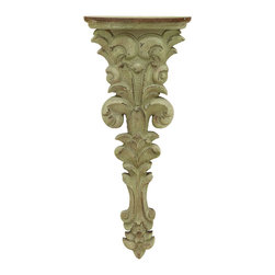 Benzara - Vintage Look Corbel Shelf Floral Style - A polystone shelf that is every bit as beautiful as it is a working shelf. Inspired by the design of art and architecture in the ancient world, this floral corbel shelf evokes the feeling of being in an old Greek stone villa. Hang this in your home office to keep family photos. Or hang a series of them down a long hallway.