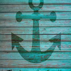 """Anchor Family Name Wall Canvas - Family Name Canvas with Wood Burned Effect, on Turquoise Distressed Wood Background. 1.5"""" Gallery Wrapped Canvas Print."""