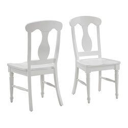 HomeStyles - Brushed White Dining Chair Pair - Includes 2 chairs. Inspired by the fusion of British colonial and old world tropical design, the Bermuda Dining Chair Pair highlights hardwood solids and engineered wood in a designer visible brushed stroke white finish. Further inspiration can be found in the intricate details, contoured seat, and turned legs. The Bermuda dining chair is perfect for any dining room large or small. Item is packed two per carton. 18 in. W x 21.75 in. D x 39 in. H