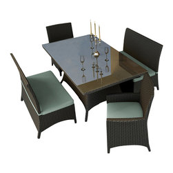 Forever Patio - Hampton 5 Piece Wicker Patio Dining Set, Chocolate Wicker and Spa Cushions - The Forever Patio Hampton 5 Piece Modern Patio Dining Set with Turquoise Sunbrella cushions (SKU FP-HAM-5DN-CH-SP) creates the perfect contemporary look for dining on your patio or deck. The set seats 6 adults comfortably, and includes 2 dining benches, 2 dining armchairs and a dining table with a glass top. This set features Chocolate resin wicker, which is made from High-Density Polyethylene (HDPE) for outdoor use. Each strand of this outdoor wicker is infused with the rich color and UV-inhibitors that prevent cracking, chipping and fading ordinarily caused by sunlight, surpassing the quality of natural rattan. This patio dining set is supported by thick-gauged, powder-coated aluminum frames that make it extremely durable and resistant to corrosion. Also included are fade- and mildew-resistant Sunbrella cushions. Backed by its quality construction and highly modern design, this modern outdoor dining set will keep your patio looking great for years.