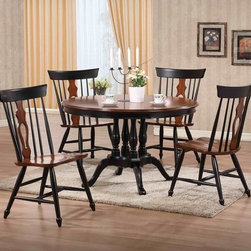 Sunset Trading - Sunset Trading Fiddleback 48 in. Round Dining Table - Black & Chestnut - DLU-TRP - Shop for Dining Tables from Hayneedle.com! The Sunset Trading Fiddleback 48 in. Round Dining Table - Black & Chestnut welcomes guests into your home with a touch of colonial vintage tradition. Hand-crafted from eco-friendly Malaysian hardwood this versatile dining table is ideal for all kinds of get-togethers. It features a unique solid wood poster-styled pedestal base. Warm and inviting the beautiful finish features rich black and chestnut tones lending classic beauty and craftsmanship. The Fiddleback dining table with seating for four to six guests will bring warmth and comfort to your home for years to come. Dimensions: 48 diam. x 30H inches.About Sunset TradingThis product is designed and manufactured by Sunset Trading. Located in Londonderry New Hampshire Sunset Trading creates high quality furniture for bedrooms living and dining rooms. Their furniture features side roller drawer guides four corner English dovetails solids and veneers. Dining rooms feature epoxy resin constructed chairs with metal support brackets which make their chairs 100 times stronger than glued chairs. Rest assured you're making an excellent choice when you purchase a fine furniture item from Sunset Trading.
