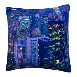 Custom Photo Factory - Aerial view of a New York city at night    Polyester Velour Throw Pillow - Aerial view of a New York city at night   18 x 18 Inches  Made in Los Angeles, CA, Set includes: One (1) pillow. Pattern: Full color dye sublimation art print. Cover closure: Concealed zipper. Cover materials: 100-percent polyester velour. Fill materials: Non-allergenic 100-percent polyester. Pillow shape: Square. Dimensions: 18.45 inches wide x 18.45 inches long. Care instructions: Machine washable