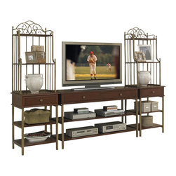 HomeStyles - 3-Pc Media Entertainment Center - Two storage drawers. Two fixed shelves. Iron metal frame. Pier cabinet with storage drawer. Four fixed shelves. Brushed antiqued brass hardware and metalwork. Made from poplar solids with cherry and birch veneers. Cinnamon cherry finish. Minimal assembly required. TV stand: 54 in. W x 18 in. D x 31.5 in. H. Pier cabinet: 22 in. W x 18 in. D x 72 in. H. Overall: 98 in. W x 18 in. D x 72 in. H