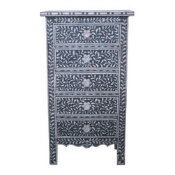 None - Floral Pattern Bone Inlay 5-drawer Chest - A must have for your home,this 5-drawer Floral Pattern Bone Inlay Chest has the storage you need and the design you love.