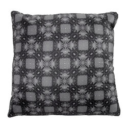 Tempo Luxury Home - Botanica Pillow from the Odyssey Collection by Joe Ginsberg - Alternating blossoms and geometric shapes intermingle in this inspired accent pillow. With its neutral tones and decorative pattern, use Botanica to complement a variety of décors. Printed on raw silk taffeta; velvet-textured backing in Flint. Fill: 75% goose down; 25% feather. Each pillow from the Odyssey Collection is made to order and has an approximate lead-time of three weeks