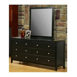 Alpine Furniture - Vista Dresser w Mirror - Six drawers. Side mounted ball bearing metal glides. 1 in. frame depth. Six months warranty. Made from solids and veneer. Dark espresso finish. Made in Indonesia. No assembly required. Dresser: 66 in. W x 19.5 in. D x 34 in. H. Mirror: 38 in. W x 40 in. H
