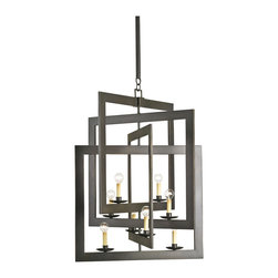 Kathy Kuo Home - Modern Industrial Geometric 8 Light Pendant Chandelier - The staggered metal squares which frame this eight light modern chandelier are clearly inspired by the work of mid century artists like Alexander Calder.  When hanging, the light and air take on new proportions, while the frames cast a unique shadow diffusion across the room.   Contemporary spaces with an artful approach will find this modern metal chandelier a perfect fit.