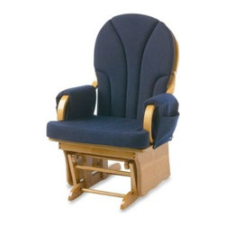 Foundations - Foundations Lullaby Adult Glider Rocker in Natural/Navy Blue - Get off your feet and sit with baby in sweet relaxation with the Lullaby Adult Glider Rocker from Foundations.
