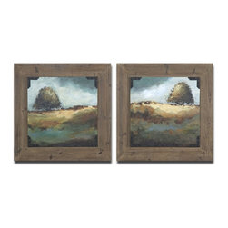 Grace Feyock - Grace Feyock Trees of Love I, II Framed Wall Art / Wall Decor X-80514 - These oil reproductions feature a hand applied brushstroke finish and rust and black strapping accenting the corners. Frames feature a rustic gray wood tone finish.