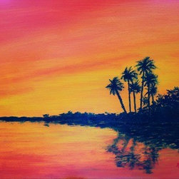 Coastal Sunset (Original) by Rosie Phillips - Living close to the coast, I see many beautiful scenes like this. This is one of the most peaceful spots I have seen. The sun set glows and shimmers in the water showing off the swaying palms. I painted this oil on watercolor paper that has been stretched on bars, 8 x 11 and is varnished. Does not need a frame.