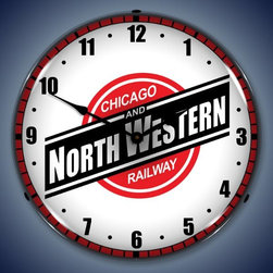 US Clock - Chicago North Western Railroad Lighted Wall Clock 14 x 14 Inches - -Best backlit clock on the market
