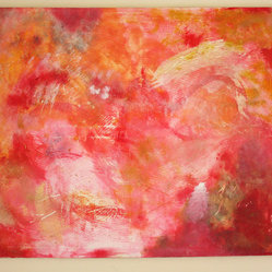 Original Oil Painting Large Abstract in Red by Rossana Novella