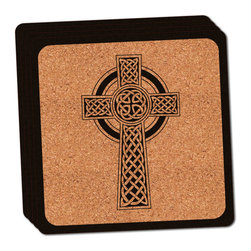 "Made on Terra - Celtic Cross High Cross Thin Cork Coaster Set of 4 - You're just cleaning up after your epic party when you realize it... something's different. Unlike all those other times, you're not mopping up cup condensation from your counters and tables. This time, everyone used a coaster. Everyone. Maybe it's because you handed out a coaster with every glass. No. You've tried that before. No, this time it's because of the actual coasters. You found the cutest Made On Terra printed cork coasters. You love that everyone commented on how unique they were,  from the light-weight, thin cork material to the printing that creates a cool and subtle effect. Plus, they're really absorbent, but dry quickly. And they're made from an eco-friendly, sustainable resource, so that makes you feel pretty great, too. Choose from Made on Terra's many fabulous cork coasters. Measures 4"" x 4"" x 1/8"". Made of thin cork. Super cute and nicely absorbent. Sold in sets of four."