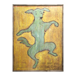 Kathy Kuo Home - You Make Me So Dog Gone Happy' Reclaimed Wood Wall Art - Extra Large - You'll want to do the happy dance too once you add this gleeful, sentimental piece to your house. It's a high-quality reproduction, printed in your choice of three sizes to maintain the exuberance and texture of the original painting. Each one is framed lovingly by hand.