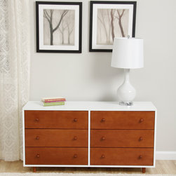 None - Beckham Chestnut Dresser - Spruce up your bedroom decor with the Beckham dresser in a fun and simple shade of chestnut accented with white. This modern dresser features six drawers for maximum storage complemented with nickel hardware for a simple finish.