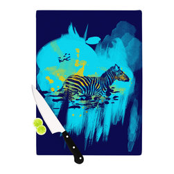 """Kess InHouse - Frederic Levy-Hadida """"Watercolored Blue"""" Zebra Cutting Board (11"""" x 7.5"""") - These sturdy tempered glass cutting boards will make everything you chop look like a Dutch painting. Perfect the art of cooking with your KESS InHouse unique art cutting board. Go for patterns or painted, either way this non-skid, dishwasher safe cutting board is perfect for preparing any artistic dinner or serving. Cut, chop, serve or frame, all of these unique cutting boards are gorgeous."""