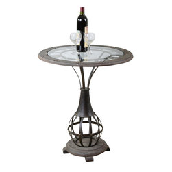 Uttermost - Uttermost Honi Glass Accent Table - Honi Glass Accent Table by Uttermost Antiqued Metal Clock Framework With Weathered Fir Wood Tabletop Inset With Clear Tempered Glass.