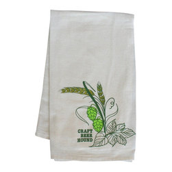 "Craft Beer Hound LLC - Home Bar Towel - Hops and Barley - This attractive bar towel featuring our own Hops and Barley design is a superb gift for any beer lover. These 100% cotton, low-lint flour sack towels are perfect for drying your beer glasses. A great addition to any kitchen or home bar. Measures 29"" x 29""."