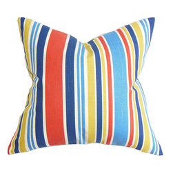 The Pillow Collection - Manila Red 18 x 18 Stripes Throw Pillow - - Pillows have hidden zippers for easy removal and cleaning  - Reversible pillow with same fabric on both sides  - Comes standard with a 5/95 feather blend pillow insert  - All four sides have a clean knife-edge finish  - Pillow insert is 19 x 19 to ensure a tight and generous fit  - Cover and insert made in the USA  - Spot clean and Dry cleaning recommended  - Fill Material: 5/95 down feather blend The Pillow Collection - P18-ROB-MODLAYOUT-REGATTA-C100