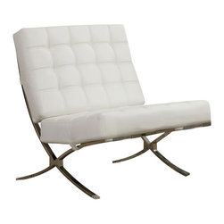 """Adarn Inc. - Coaster X style Chrome Legs White Faux Leather Waffle Accent Chair - Add a touch of contemporary style to your home with this updated accent chair design. This piece provides comfy padded lounging in two neutral color options- sleek black and crisp white- for a look of simple modern elegance. Sleek chrome legs with an """"X""""-style give this piece smooth modern flair, while accent stitching in a plush waffle pattern completes the comfortable yet trendy feeling."""