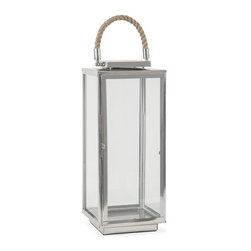 "IMAX - Frankel Large Stainless Lantern - With modern styling, quality stainless steel design and rope accents, the large Frankel lantern adds style to any room. Holds pillar candles. Item Dimensions: (20""h x 8""w x 8"")"