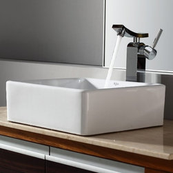 Kraus - Kraus White Square Ceramic Sink and Unicus Faucet - Add a touch of elegance to your bathroom with a ceramic sink combo from Kraus