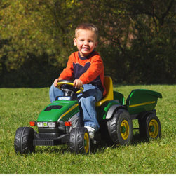 "Peg Perego - John Deere Farm Tractor and Trailer Ride-On Toy - Your toddler will help you get those hauling projects going with this chain driven pedal tractor with matching trailer. A built-in dashboard with gauges lets your little worker keep an eye on the instruments while operating the controls. Large tractor wheels make it easy for your child to ride on any terrain. Let him harvest a few tomatoes or take a load of mulch out to the flowerbeds. Whatever task you set, it's sure to be more fun with this child-sized John Deere tractor and matching trailer. Recommended for ages 2 to 4 years. Features: -Realistic John Deere tractor. -Built-in dashboard with gauges. -Large all-terrain tractor wheels. -Matching trailer. -Chain drive pedal. -Recommended for 2 to 4 years. -Weight capacity: 50 lbs. -Dimensions: 19"" H x 19.5"" W x 52"" D."