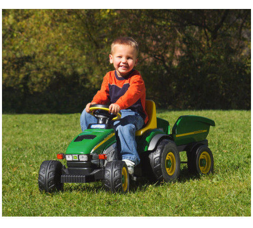 """Peg Perego - John Deere Farm Tractor and Trailer Ride-On Toy - Your toddler will help you get those hauling projects going with this chain driven pedal tractor with matching trailer. A built-in dashboard with gauges lets your little worker keep an eye on the instruments while operating the controls. Large tractor wheels make it easy for your child to ride on any terrain. Let him harvest a few tomatoes or take a load of mulch out to the flowerbeds. Whatever task you set, it's sure to be more fun with this child-sized John Deere tractor and matching trailer. Recommended for ages 2 to 4 years. Features: -Realistic John Deere tractor. -Built-in dashboard with gauges. -Large all-terrain tractor wheels. -Matching trailer. -Chain drive pedal. -Recommended for 2 to 4 years. -Weight capacity: 50 lbs. -Dimensions: 19"""" H x 19.5"""" W x 52"""" D."""
