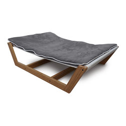 Pet Lounge Studios - Bambu Nautical Hammock ll, Gray, Large - There is no need to sacrifice your finely planned home décor any longer while trying to integrate your pet into your home. We have done it again with our newest and most refined pet furniture piece ever, the Bambú Pet Hammock II. This incredible design is created with a sustainable and solid bamboo frame, a very unique mattress support system and the highest quality removable and washable cushion. Inspiration was drawn directly from the same philosophy used by some of the most recognized Scandinavian furniture designers, which was to showcase the natural beautiful of the materials used with simplicity.
