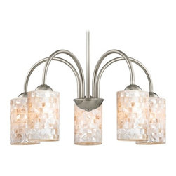 Design Classics Lighting - Chandelier with Mosaic Glass in Satin Nickel Finish - 591-09 GL1026C - Mosaic glass satin nickel 5-light chandelier with cylinder glass shades. Takes (5) 100-watt incandescent A19 bulb(s). Bulb(s) sold separately. UL listed. Dry location rated.