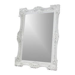 drg - White baroque 7ft mirror - The beauty of this mirror comes from the combination of the Old Age Baroque style with modern finishes. The frame is hand-carved in extreme detail to produce this breathtakingly gorgeous design. A glossy white lacquer finish completes it, enhancing the fine details and giving it a contemporary touch that makes this generous mirror undeniably elegant and sophisticated.