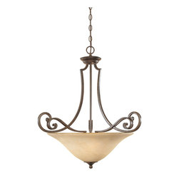 Designers Fountain - Designers Fountain Mendocino Traditional Inverted Pendant Light X-NSF-13818 - This Traditional Inverted Pendant Light by Designers Fountain is simply elegant with unique details. The rich tones of its Warm Amber Glaze Shade and Forged Sienna Finish offer a welcoming ambiance, while its double scrolled arms create visual appeal.