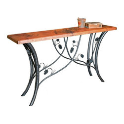 "Mathews & Company - Piney Woods Console Table with 60"" x 14"" Top - This handcrafted wrought iron console table draws the natural beauty of the forest into your home wherever it stands. Featuring intricately handcrafted wrought iron pine cones and branches, the Piney Woods collection brings rustic charm to your d��_cor. This tall, hand welded table base can be finished with a variety of table tops and comes in four striking finishes to perfectly match your personal style: natural black, rust, aged pewter or aged bronze. Every bend and joint is painstakingly perfected for top quality, durability and beauty by skilled artisan blacksmiths. Each piece is created individually after you order it - no assembly line production here! Pictured in Copper top and Black finish."