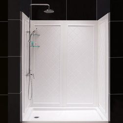 DreamLine - DreamLine QWALL-5 Shower Backwall Kit - Complete your shower makeover with a QWALL shower backwalls panel. DreamLine shower doors can shave years off the look of any bathroom. Pair your new shower doors with a QWALL shower backwalls to create a dramatic transformation. Combine an optional DreamLine shower base with the back wall panels to finish the project. Panels can be trimmed up to 4 inches in width and up to 10 inches in depths to perfectly fit your shower space. The versatile backwall panels are made of durable and attractive Acrylic/ABS materials and are easy to install. With a tasteful tile pattern, the panels are a cinch to maintain with no grout to clean. Streamline your bathroom renovation and choose a QWALL shower backwalls panel to complement your DreamLine shower doors. Product Type: Shower Backwall Kit,  Color: White,  Assembly required,  Designed to be installed over existing finished surface (not directly against studs),  Includes 2 glass corner shelves,  Attractive tile pattern,  Unique water tight connection of panels,  Durable acrylic/ABS construction,  Trim-to-Size sidewall design. Must be trimmed during installation,  Optional Acrylic/ABS shower baseProduct Warranty:,  Limited 1 (one) year manufacturer warranty