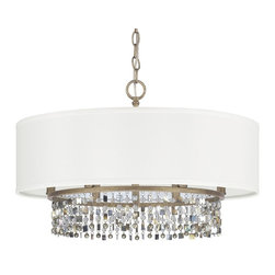 Shell & Crystal Drum Shade Chandelier -