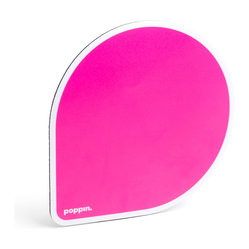 Poppin - Mousepad, Pink - If your ho-hum workspace just can't get in line, point and click your way to cool desk style. Each balloon-shaped pad features a choice of bold, bright colors and a non-skid rubber bottom to keep you, your mouse and your work on track.
